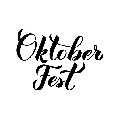 Oktoberfest calligraphy hand lettering isolated on white. Traditional Bavarian beer festival. Easy to edit vector template for your symbol design,  poster, banner, flyer, t-shirt, invitation, etc.