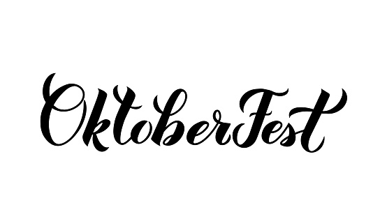 Oktoberfest calligraphy hand lettering isolated on white. Traditional Bavarian beer festival. Easy to edit vector template for your symbol design, banner, poster, flyer, t-shirt, invitation, etc.