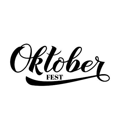 Oktoberfest calligraphy hand lettering isolated on white. Traditional German beer festival. Easy to edit vector element of design  for your symbol design,  poster, banner, flyer, t-shirt, invitation.