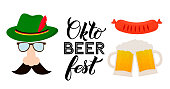Oktoberfest calligraphy hand lettering isolated on white. Traditional German beer festival. Easy to edit vector template for your  design, poster, banner, flyer, tee-shirt, invitation, etc.