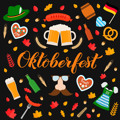 Oktoberfest calligraphy hand lettering with traditional symbols in flat style. Beer festival in Germany. Easy to edit vector template for your logo design, poster, banner, flyer, t-shirt, mug, etc.