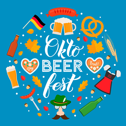 Oktoberfest calligraphy hand lettering with traditional symbols in flat style. Beer festival in Bavaria, Germany. Vector template for  design, poster, banner, flyer, t-shirt, mug, etc.
