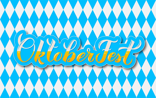 Oktoberfest calligraphy lettering with bubblies on blue white checkered background. Bavarian beer festival. Vector template  for your symbol design,  poster, banner, flyer, t-shirt, invitation.