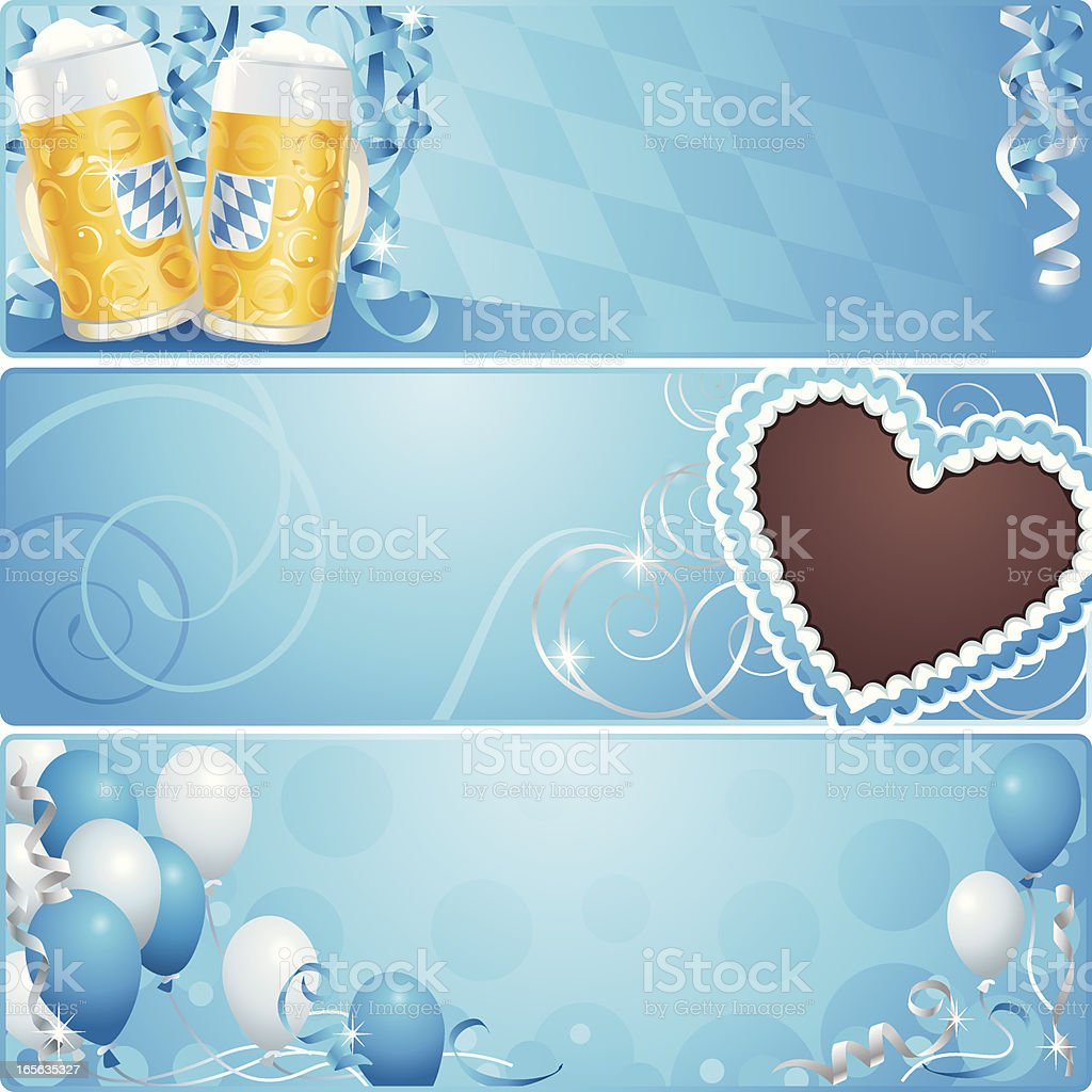 Oktoberfest Celebration Banner Background with Flag of Bavaria and Beer royalty-free stock vector art