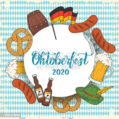 Oktoberfest celebration poster with hand drawn colored glass of beer, hat, flag garland, pretzel, sausage, flag on white located in a circle. Hand made lettering. Sketch. Oktoberfest pattern