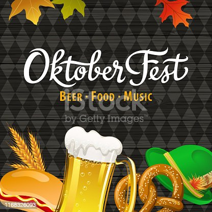 Celebrate Oktoberfest with beer, hot dog, pretzel, whole wheat, hat and maple leaves on wood and black diamond shaped background