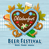Join the Beer Festival for Oktoberfest with gingerbread cookie, beer, pretzels, hat, whole wheat, hot dog and maple leaves on wood and blue diamond shaped background