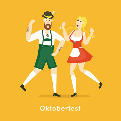 Oktoberfest characters. Bavarian man and woman dancing together.