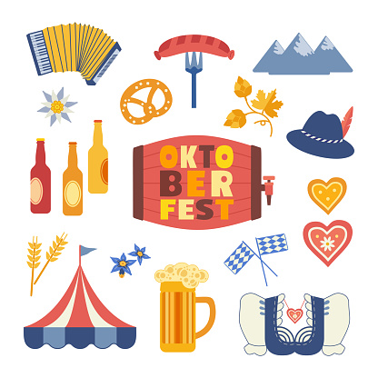 Oktoberfest cute flat color vector icon collection
