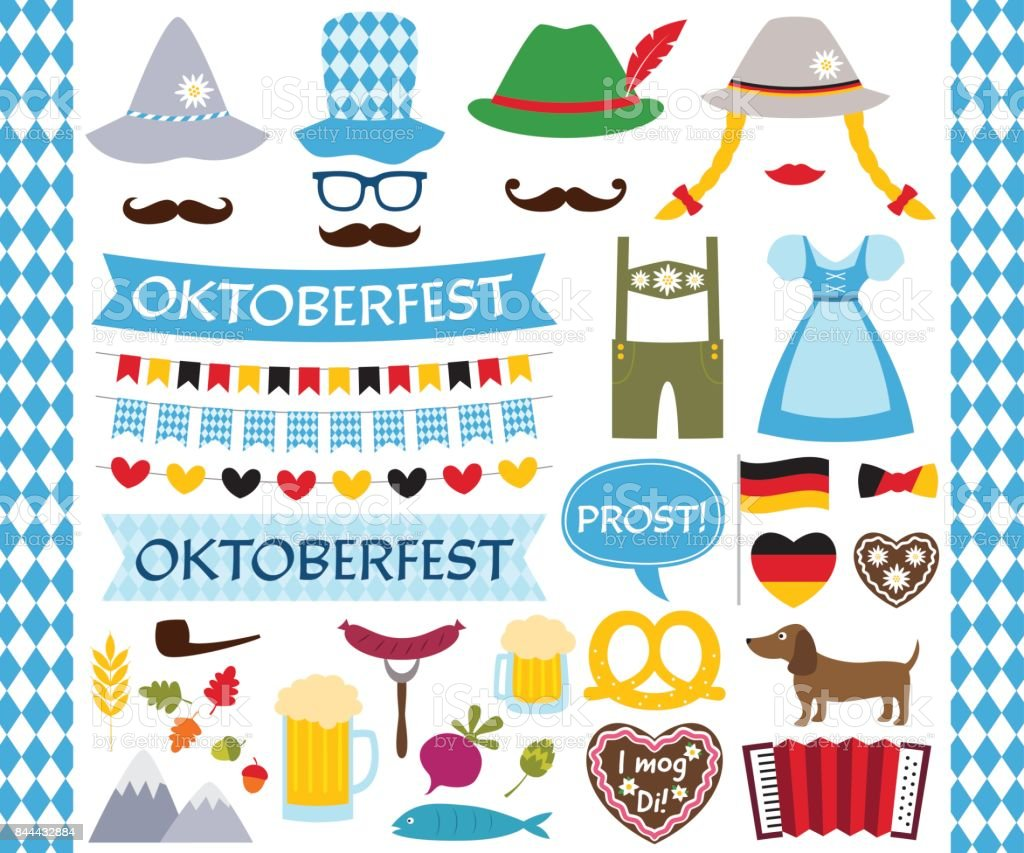 Oktoberfest design elements and photo booth props oktoberfest design elements and photo booth props - immagini vettoriali stock e altre immagini di abbigliamento royalty-free