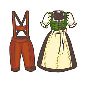 Oktoberfest Dirndl and Lederhosen in Hand Drawn Style