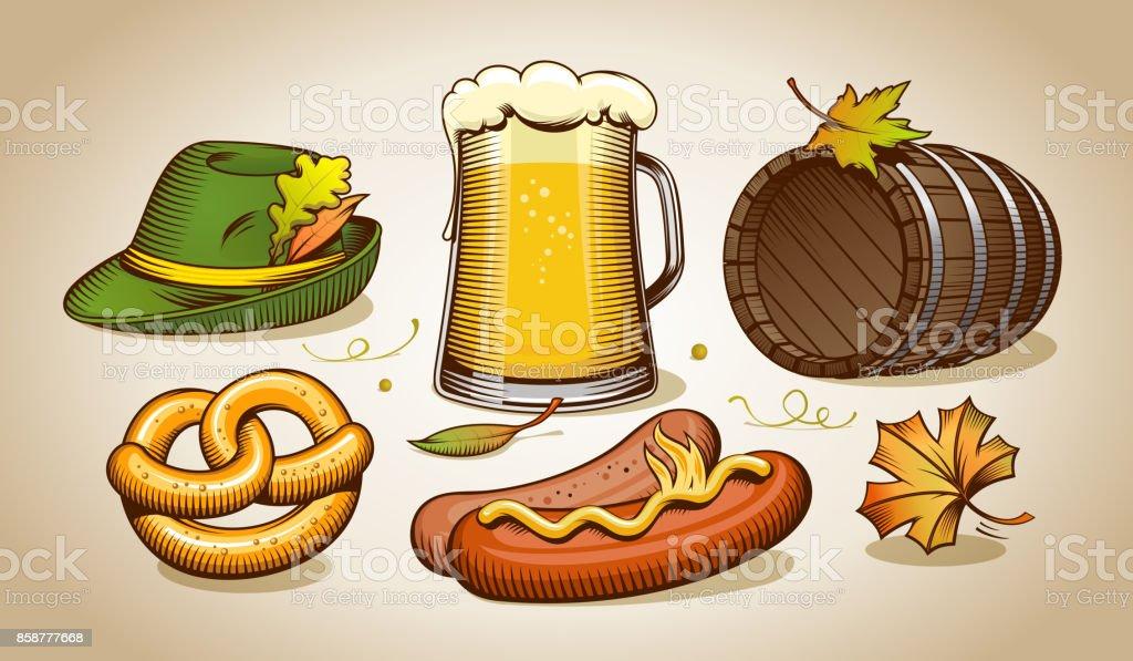 Oktoberfest elements vector art illustration