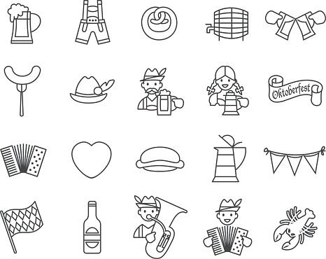 Oktoberfest festival icons set.