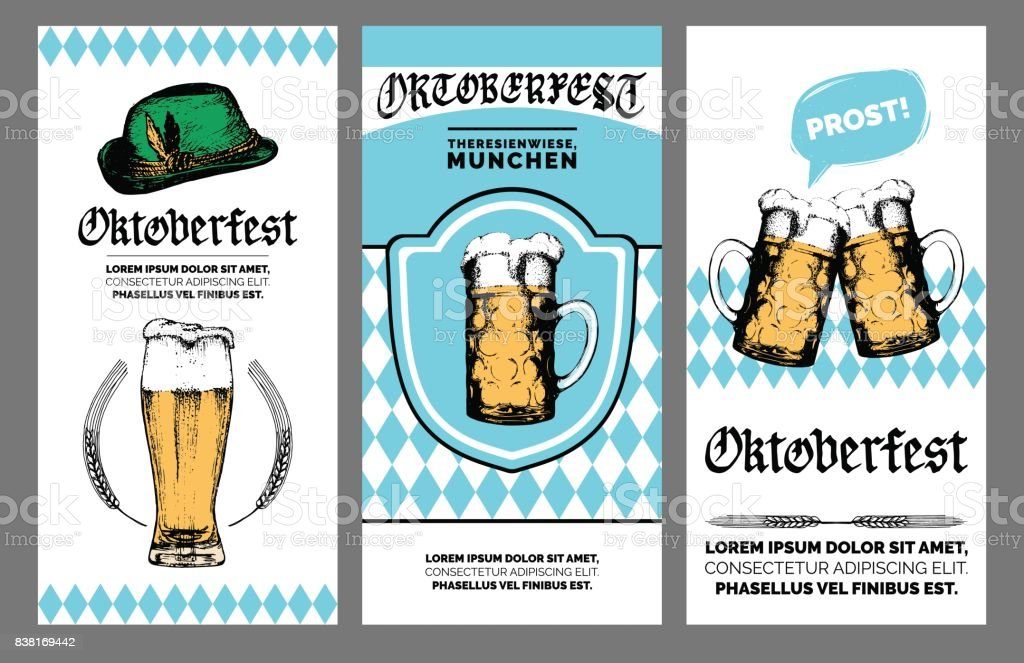 Oktoberfest flyer. Vector beer festival poster. Brewery badge with vintage hand sketched glass mugs and bavarian hat. vector art illustration