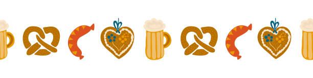 Oktoberfest food seamless border vector illustration. Beer festival party repeating banner. Beer glass, sausage, Gingerbread heart, pretzels. For invitation, flyer, poster, card vector art illustration