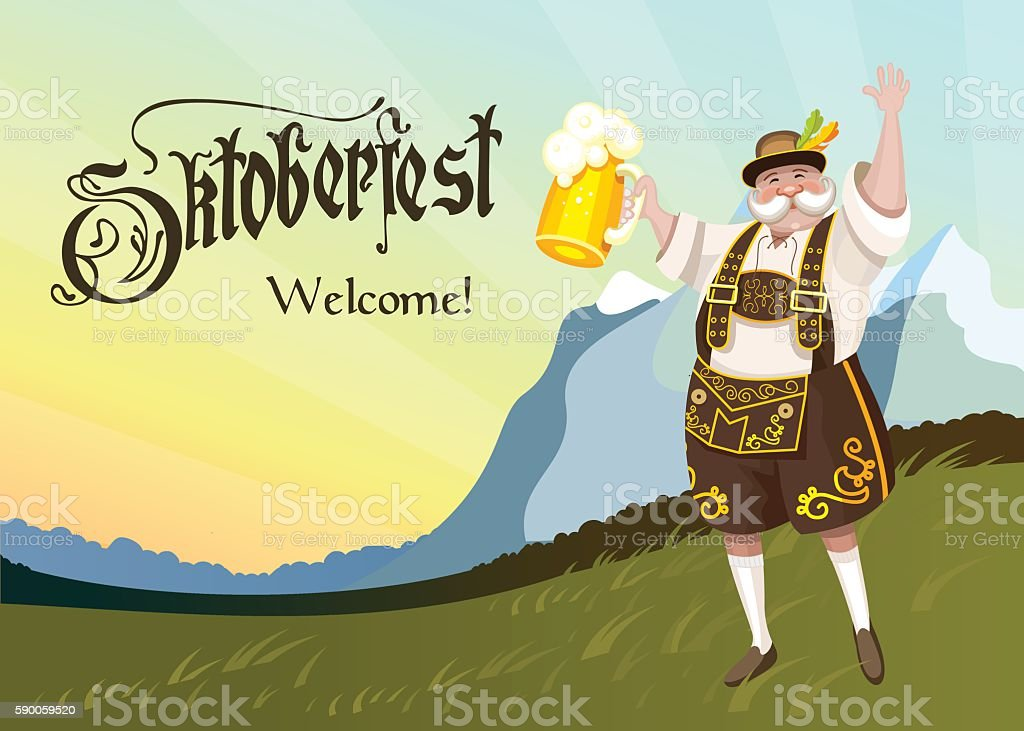 Oktoberfest. German with a beer in hand. – Vektorgrafik