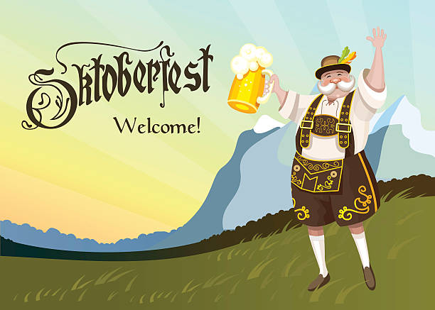 Oktoberfest. German with a beer in hand. vector art illustration