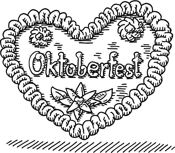 Oktoberfest Gingerbread Heart Drawing Hand-drawn vector drawing of an Oktoberfest Gingerbread Heart. Black-and-White sketch on a transparent background (.eps-file). Included files are EPS (v10) and Hi-Res JPG. oktoberfest stock illustrations