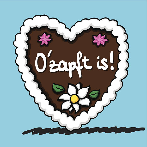 """Oktoberfest Gingerbread Heart O'zapft is Vector illustration of a bavarian Oktoberfest Gingerbread Heart with the hand-written text """"O'zapft is"""", that are the famous words to the beginning of each Oktoberfest (it's tapped). The line art, color and background are on separate layers, so you also can use the illustration on your own background. The colors in the .eps-file are ready for print (CMYK). Included files: EPS (v8) and Hi-Res JPG. oktoberfest stock illustrations"""