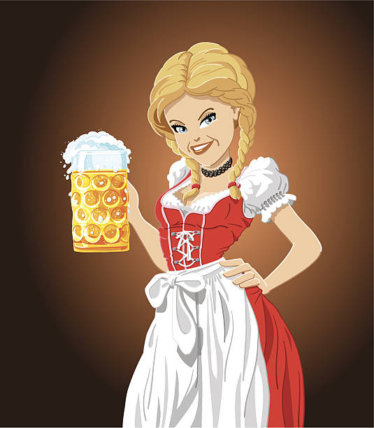 illustrazioni stock, clip art, cartoni animati e icone di tendenza di ragazza oktoberfest - portrait of waiter and waitress holding a serving