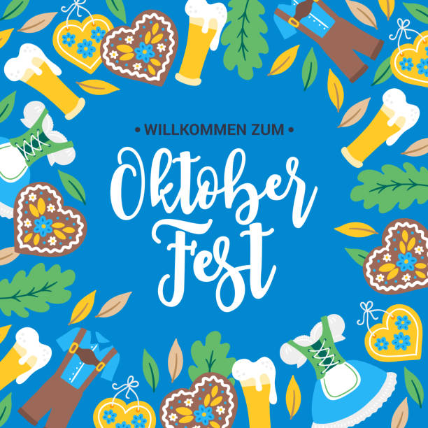 Oktoberfest greeting card with border - gingerbread, dirndl, costume, beer, glass Oktoberfest greeting card with border - gingerbread, dirndl, costume, beer, glass, leaves, oak. Perfect for food and beer festival posters oktoberfest stock illustrations