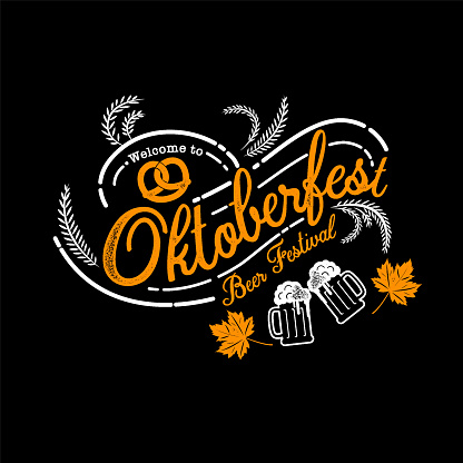 Oktoberfest hand drawn vector lettering and beer glass. Modern brush calligraphy. grunge background.