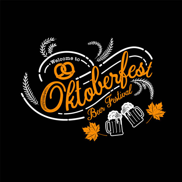 Oktoberfest hand drawn vector lettering and beer glass. Modern brush calligraphy. grunge background. vector art illustration