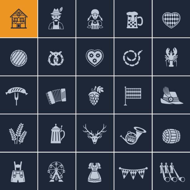 ilustraciones, imágenes clip art, dibujos animados e iconos de stock de oktoberfest icono de - oktoberfest