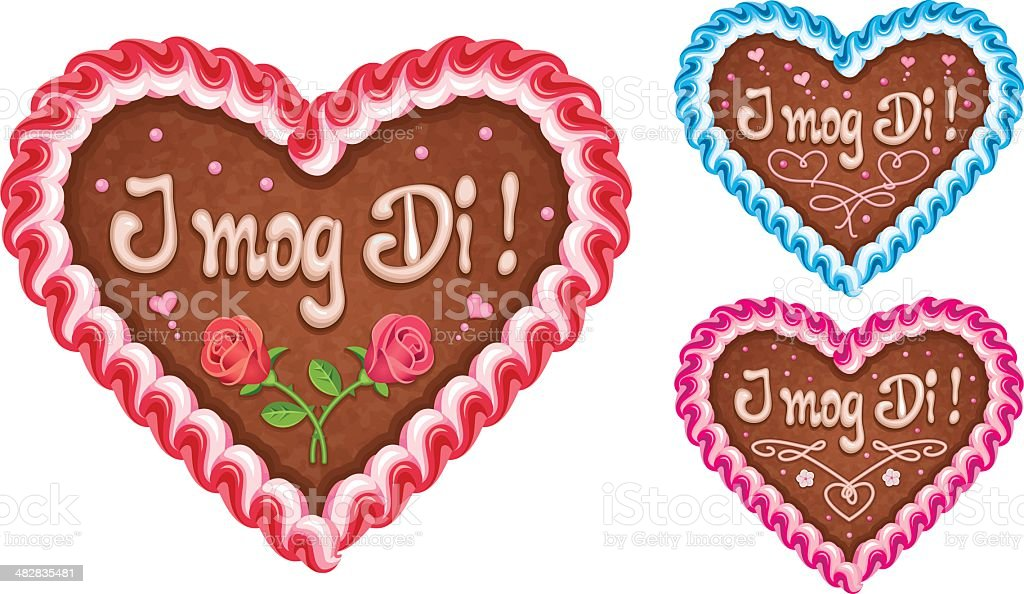 Oktoberfest Lebkuchenherz with Writing Icing 'I mog di' vector art illustration