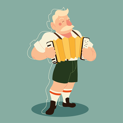 oktoberfest man cartoon with traditional cloth and accordion vector design