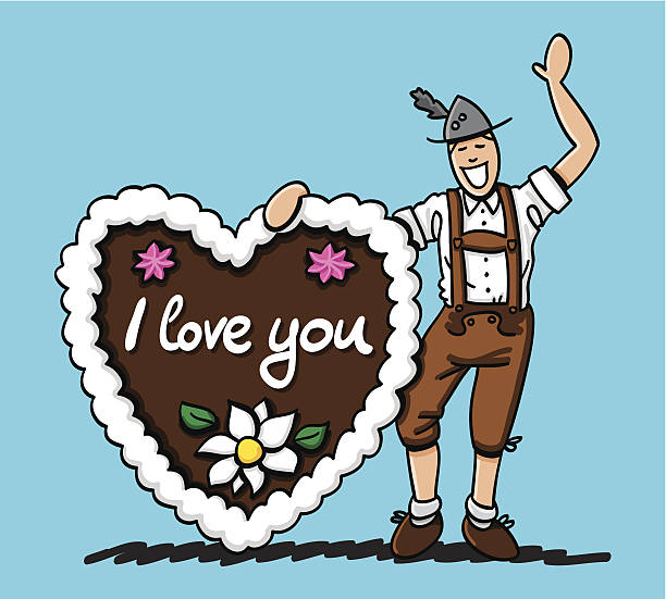 Oktoberfest Man Gingerbread Heart I love You Vector illustration of a bavarian Lederhosen Man and a big gingerbread heart with the hand-written text 'I love you'. The line art, color and background are on separate layers, so you also can use the illustration on your own background. The colors in the .eps-file are ready for print (CMYK). Included files: EPS (v8) and Hi-Res JPG. oktoberfest stock illustrations