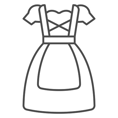 Oktoberfest national dress thin line icon, Oktoberfest concept, Bavarian Woman dress sign on white background, German traditional national clothing icon in outline style. Vector graphics.