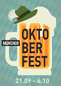 istock Oktoberfest party poster illustration with mug of beer and blue and hat party  background. Vector celebration flyer template for traditional German beer 1170362881