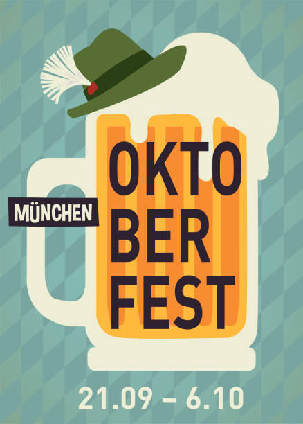 Oktoberfest party poster illustration with mug of beer and blue and hat party  background. Vector celebration flyer template for traditional German beer Oktoberfest party poster illustration with mug of beer and blue and hat party  background. Vector celebration flyer template for traditional German beer oktoberfest stock illustrations