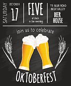 Vector illustration of oktoberfest poster with two flat beer mugs on chalkboard.