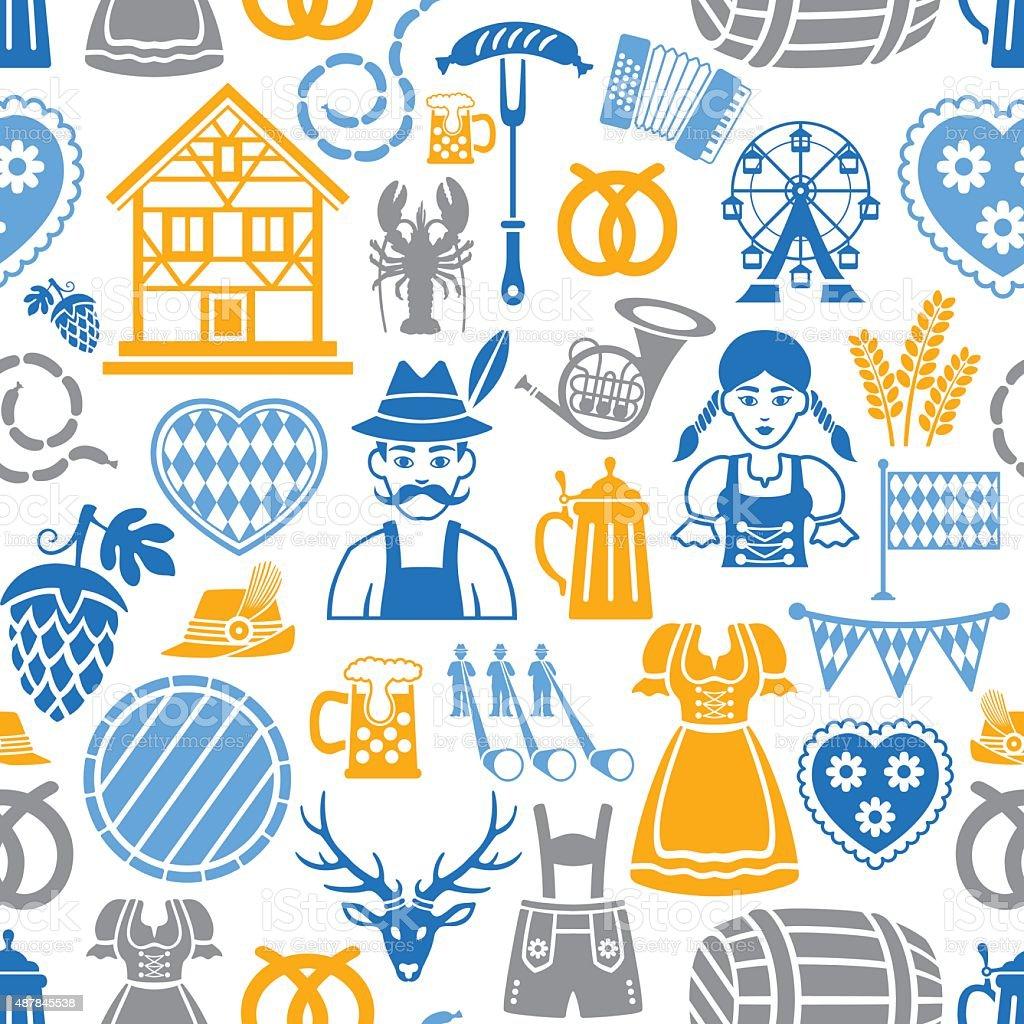 Oktoberfest wiederholte Muster – Vektorgrafik
