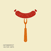 Oktoberfest sausage on fork in flat style with scuffed effect