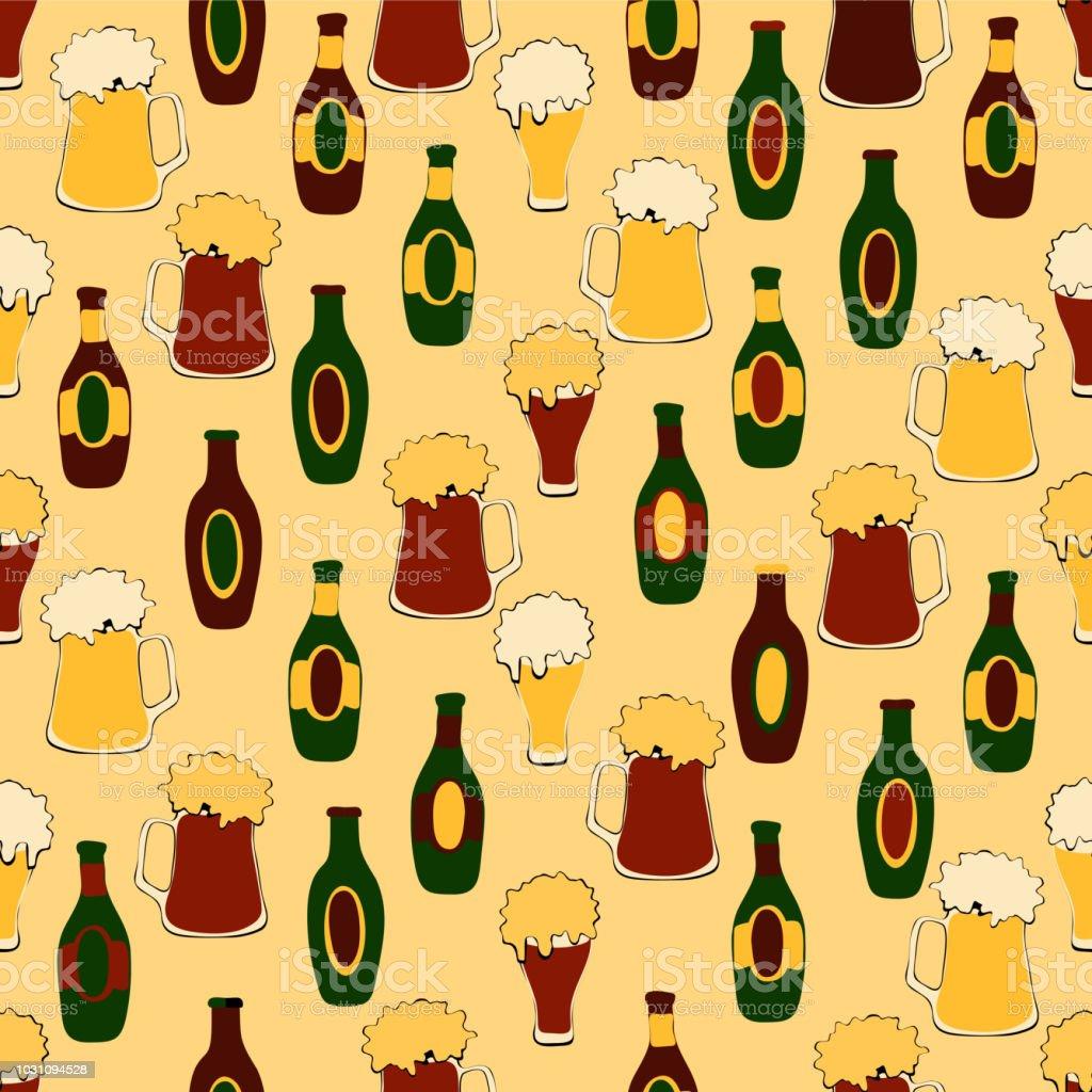 Oktoberfest Seamless Pattern Hand Draw Beer Bottle And Beer Mug
