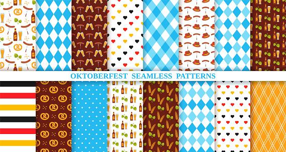 Oktoberfest seamless pattern. Octoberfest traditional backgrounds. Vector illustration.