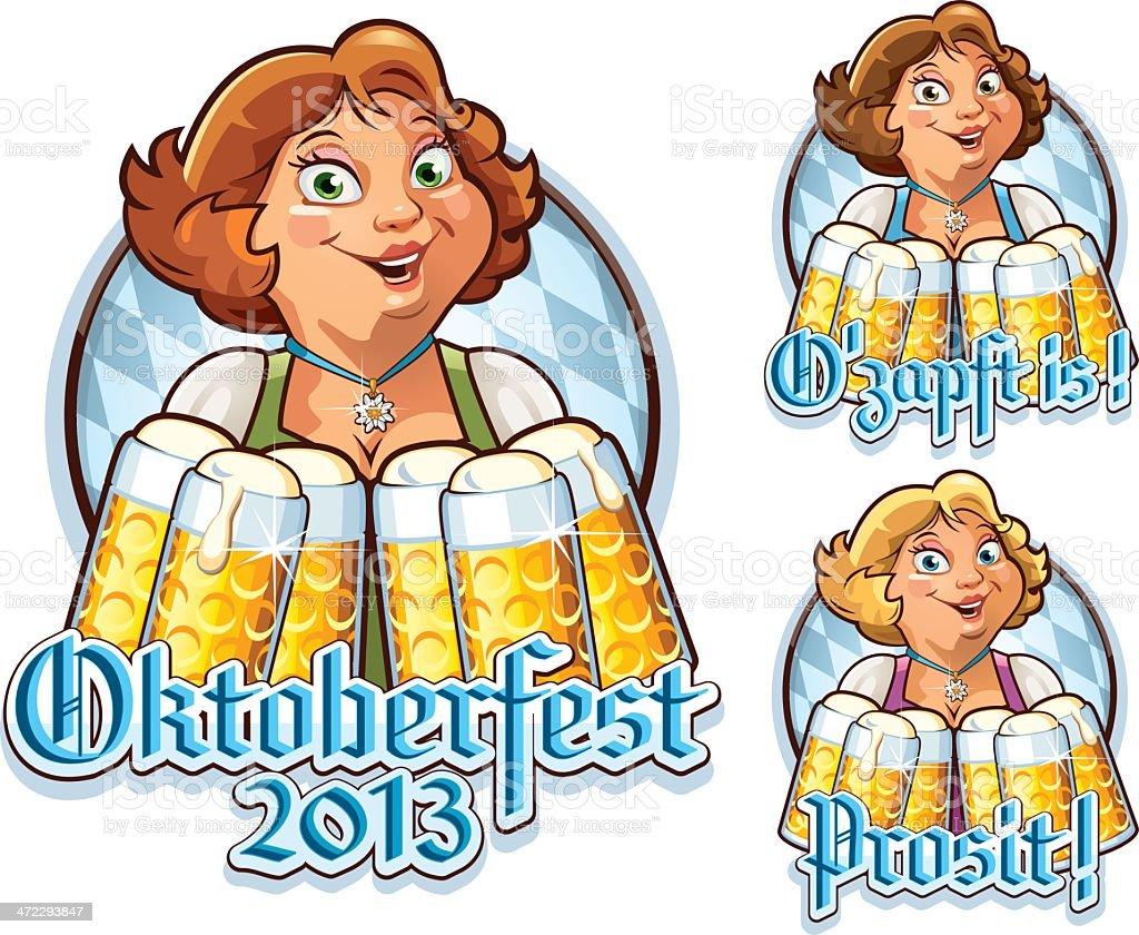Oktoberfest Sign With Typical Bavarian Waitress royalty-free stock vector art