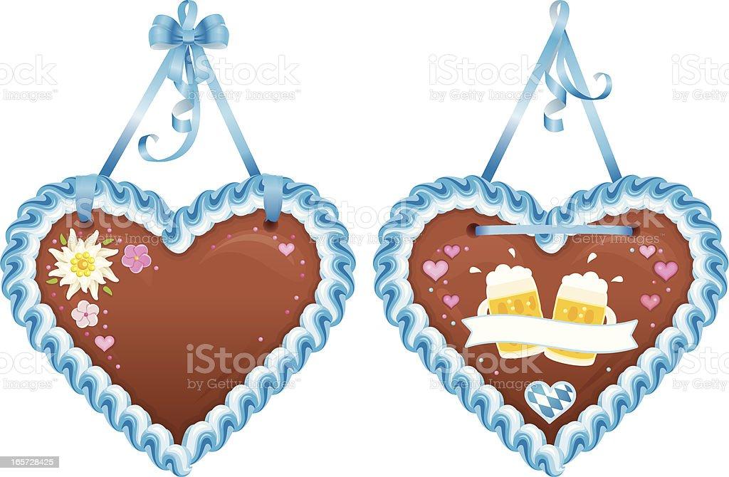 Oktoberfest Souvenir - Lebkuchenherzen / Heart-Shaped Bavarian Gingerbread Cookies vector art illustration