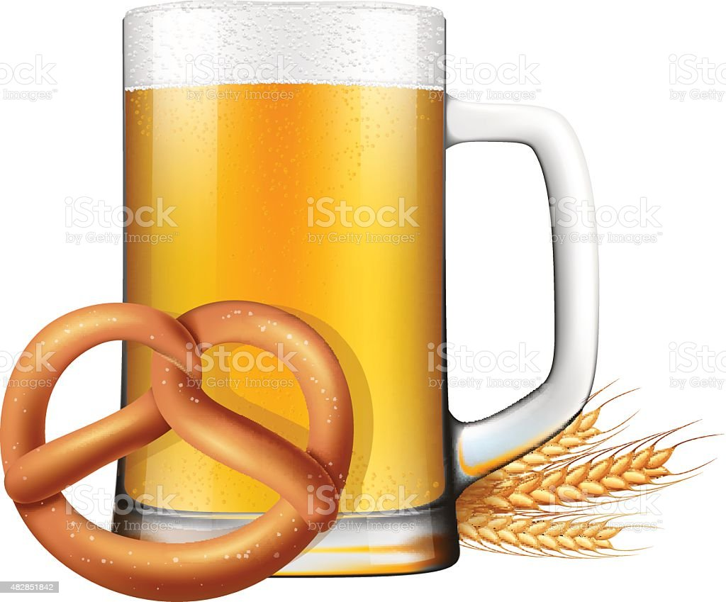 Oktoberfest-Bier und Brezel. – Vektorgrafik