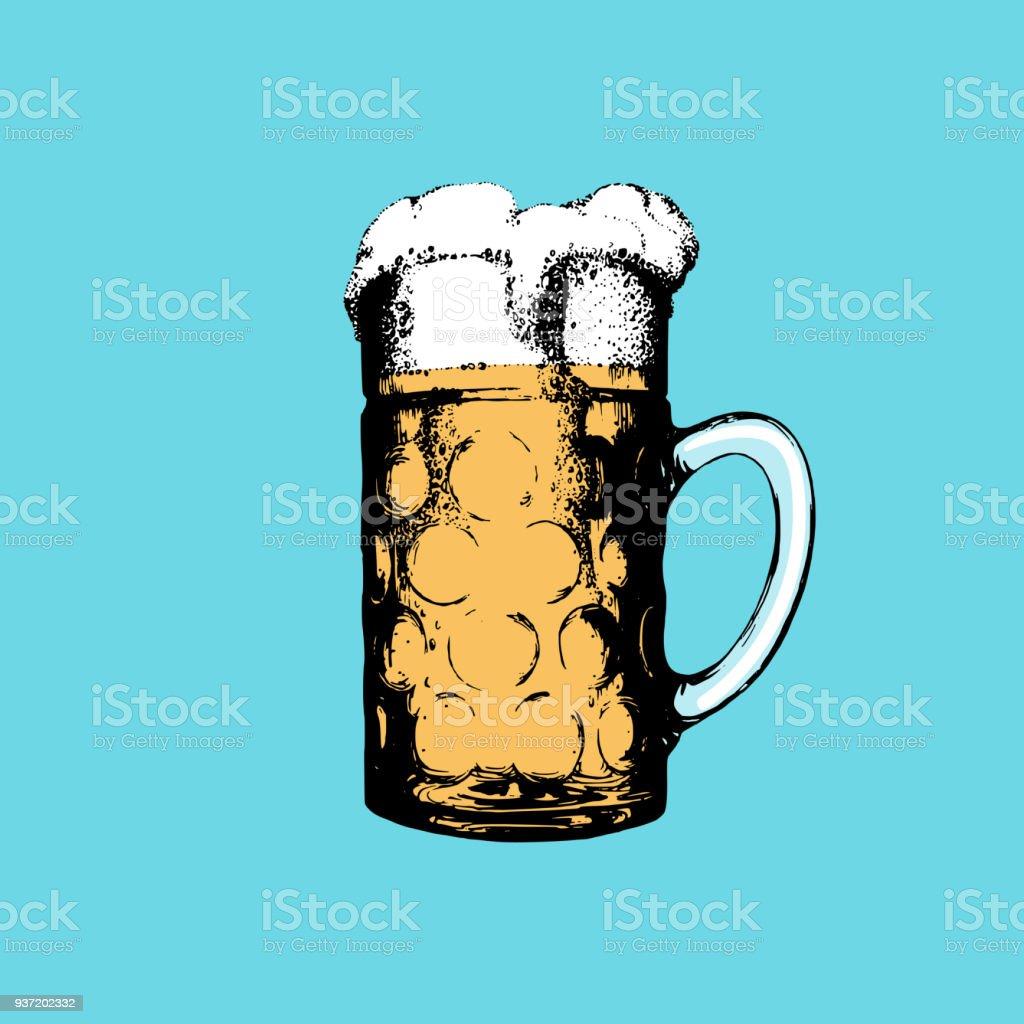 Oktoberfest-Symbol auf Türkis Hintergrund. Handgezeichnete Abbildung der Glaskrug. Vektor Bier Festival Sign. – Vektorgrafik