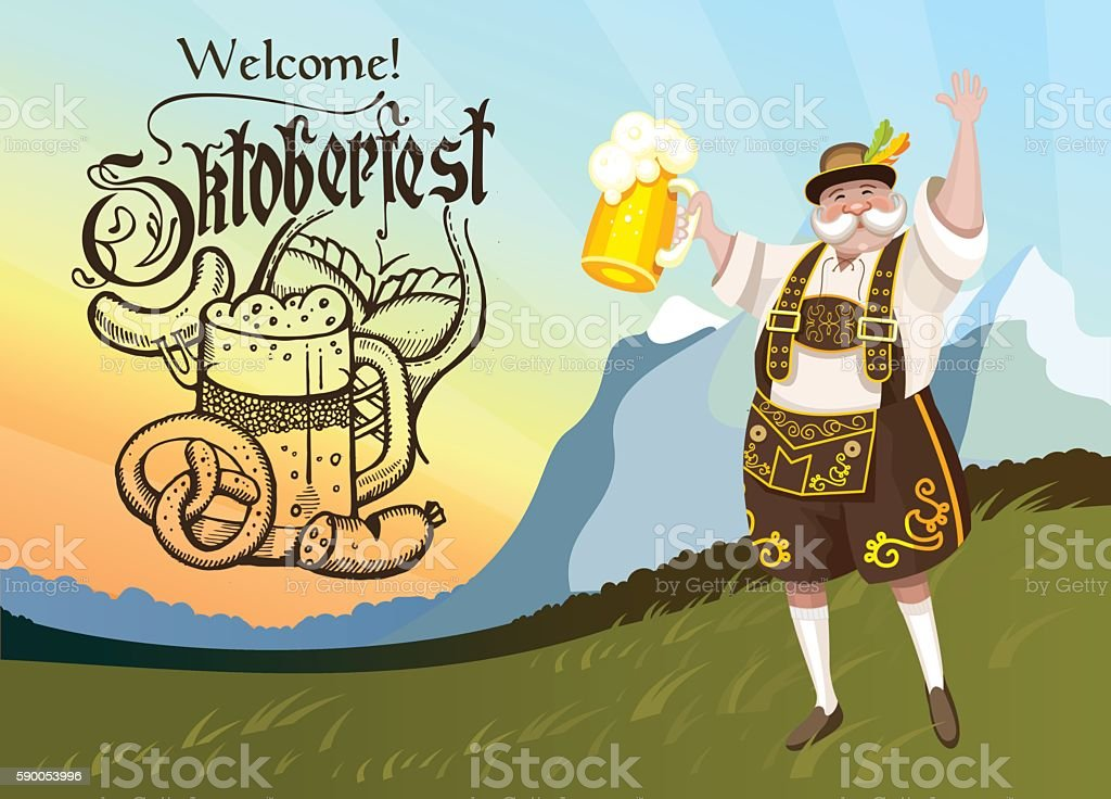 Oktoberfest. The poster is hand drawn. The man with the beer. - Royalty-free Advertisement stock vector