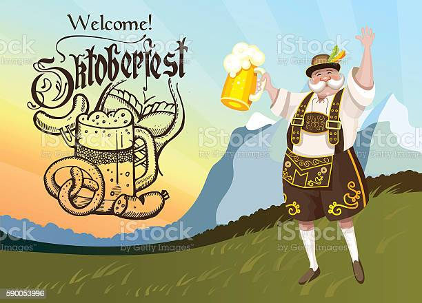 Oktoberfest The Poster Is Hand Drawn The Man With The Beer Stock Illustration - Download Image Now