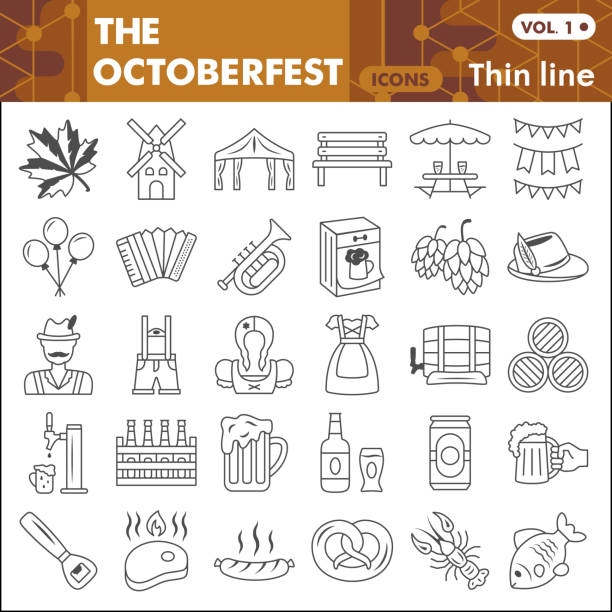 Oktoberfest thin line icon set, beer and food symbols collection or sketches. Beer festival linear style signs for web and app. Vector graphics isolated on white background. Oktoberfest thin line icon set, beer and food symbols collection or sketches. Beer festival linear style signs for web and app. Vector graphics isolated on white background ale stock illustrations