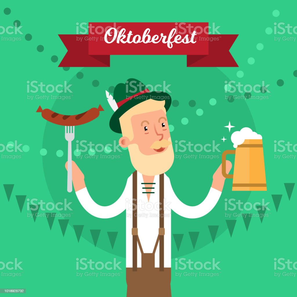 Oktoberfest traditional festival party concept vector illustration poster.  National celebration holiday graphic design 9594d2790c3