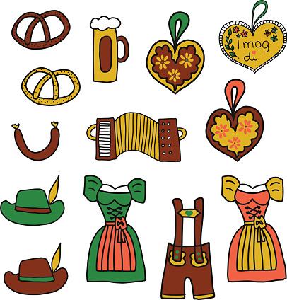 Oktoberfest vector icon set. Oktoberfest doodle illustration. Traditional German icons. Bavarian beer, Lederhosen, Dirndl, gingerbread heart, sausage, pretzels, accordion