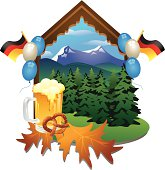 Pretzel, beer, autumn leaves, trees, balloons, flags, and mountains.
