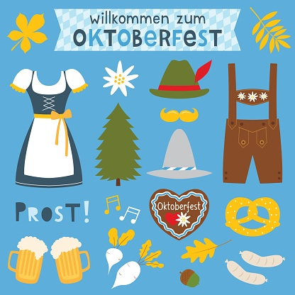 Oktoberfest vector isolated design elements and decoration